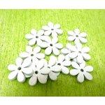 Dřevěné kytičky mini - bílé - 20 ks