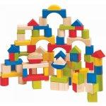 Woody kostky barevné/natur s prostrkávacím víkem 100 dílů