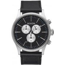 NIxon Sentry Chrono Leather Black