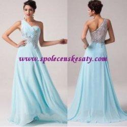 Bledě modré dlouhé společenské luxusní šaty s průhlednými zády ... 7c1b72b7b14