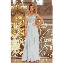 bf3cc0ae99 Numoco dlouhé společenské šaty Brenda 215-1-S šedá