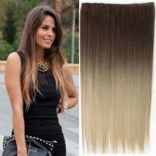 Clip in vlasy 60 cm dlouhý pás - OMBRE STYL HNĚDÁ - SVĚTLE PLAVÁ 10T16