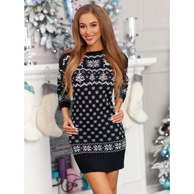 Sexy černé vánoční šaty 6974C - UNIVERZAL