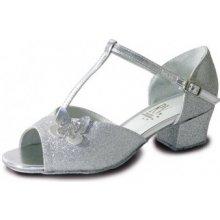 Dětské třpytivé taneční boty Carrie s motýlkem stříbrné c0d5e19994