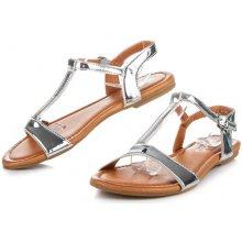 Krásně stříbné lakované sandály