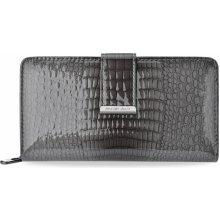 Velká lakovaná peněženka dvojitá kožená portmonka černá bff65b1ea0