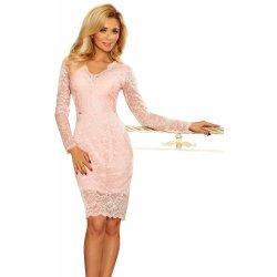 ec3e229ee0a Společenské dámské šaty s dlouhým rukávem krajkové růžová od 1 369 ...