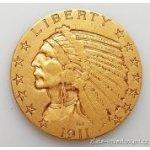 Eagle Zlatá mince americký half Indiánský náčelník 5 dolarů 1909