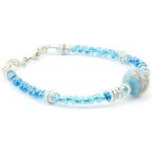 Murano náramek skleněné korálky světle modrý Idra muránské sklo 10002020501