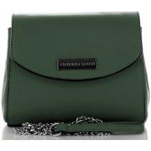 Vittoria Gotti Made in Italy kožená kabelka Listonoška Lahvově zelená 1fdd98a656f
