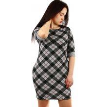 8a7a6f979bf4 YooY kárované úpletové dámské šaty 431891 šedá