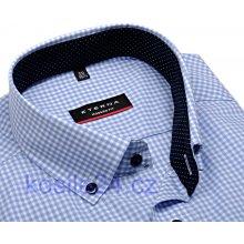 Eterna Modern Fit – košile se světle modrým kárem s vnitřním límcem - prodloužený  rukáv 070e6f5d57