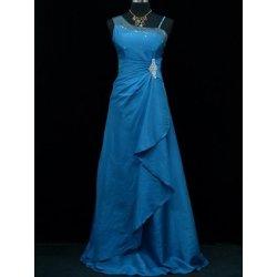 ce649c516299 Modré dlouhé Společenské šaty na ples s flitrama pro plnoštíhlé ...