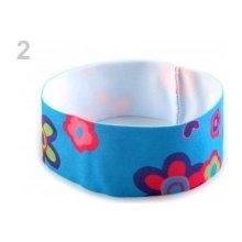 Dětská elastická čelenka s květy modrá azuro