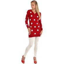06ab8cfcb8d YooY Dlouhý retro svetr s puntíky červená