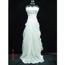 Bílé dlouhé svatební šaty pro nevěstu do tanečních závěrečnou