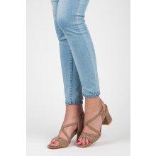Elegantní béžové sandály na podpatku