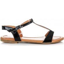 Krásně černé lakované sandály