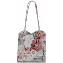 f4e7ac0d7f Vittoria Gotti Módní kožená kabelka Made in Italy květinový vzor Béžová