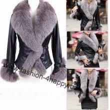 Faux dámská bunda kůže s kožíškem černá
