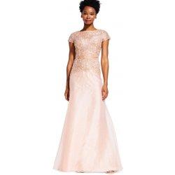 Adrianna Papell luxusní dlouhé šaty na ples bohatě vyšívané třpytivou  aplikací rose gold d1b0fa56223