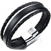 Troli náramek ze tří kožených pásků Leather SW-BL046