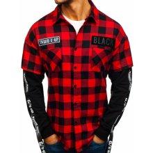 Červená pánská flanelová košile s dlouhým rukávem Bolf 7460 56224ca76d
