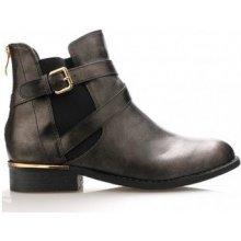 Claudia Ghizzani Kotníkové kozačky lesklé boty se zlatým podpatkem černé