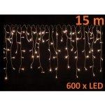 Vánoční světelný déšť 600 LED teple bílá - 15 m M02056