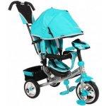 BABY MIX Dětská tříkolka Lux Trike s vodící tyčí a led světly modrá tyrkysová