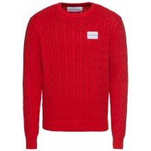 Calvin Klein Jeans Pulovr 'CABLE KNIT COTTON SWEATER' červená / bílá