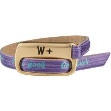 We Positive Fialový wrap náramek s nápisy Vintage Big Folk B016 Violet