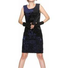 Desigual šaty Volga s černými vzory tmavě modrá 9bfc2798b7