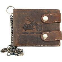 Born to ride Kožená peněženka se dvěma upínkami a 35 cm dlouhým kovovým řetězem a karabinkou
