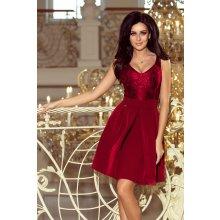 397b258041a3 Dámské šaty s krajkovým výstřihem a kontra záhyby 208-3 bordó