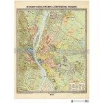 Budapešt 1906 - nástěná historická mapa - laminovaná mapa s 2 lištami