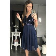 3b80599f45da PINK BOOM dámské společenské šaty Shiny modrá