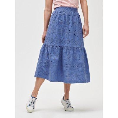eyelet midi sk sukně modrá