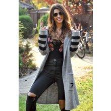 334a88949d5e Fashionweek Dámský exclusive barevný svetr jak kabát s kapucí SV11 STYLE  šedý