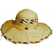 79014cb9555 Jenifer SK-1425BROWN Dámský slaměný klobouk s mašlí a korálky hnědý