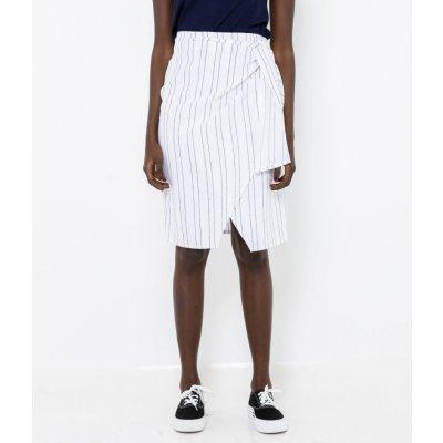 Camaieu lněná pruhovaná sukně bílá