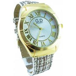 774d23511f6 G.D béžovo-zlaté 019D. Nádherné dámské hodinky s kulatým ciferníkem ...