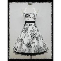 Krátké společenské šaty za krk na ples černá bílá plesové šaty ... cc647452c8