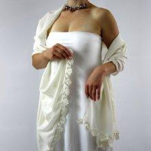 Svatební šifonový šál smetanová