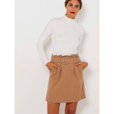 Camaieu sukně s ozdobným páskem béžová