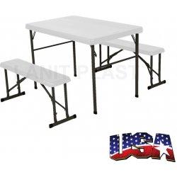 Zahradní sestava LIFETIME - campingový stůl a 2x lavice (80353)