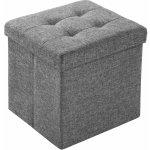 TecTake 402237 Skládací taburet z polyesteru s úložným prostorem světle šedá polyester