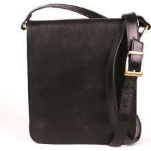 středně velká kožená crossbody kabelka no. 48 Černá c6d9532bf2