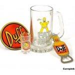 CurePink Dárkový set Simpsons: sklenice štamprle tácek otvírák 325151 500ml