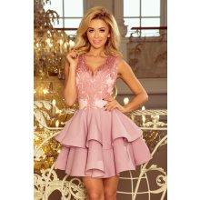 Numoco koktejlové krátké šaty s dvojitou sukní růžová 78f0db7683